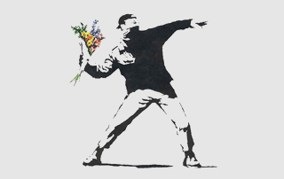 banksy painting of protester throwing flowers